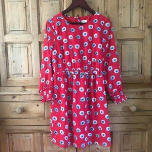 J. Crew 2 Red and Blue Daisy Dress